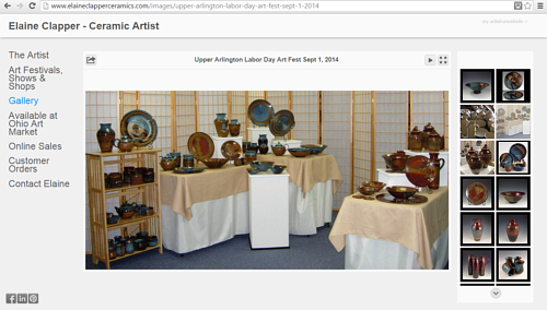 A screen capture of Elaine Clapper's online ceramics gallery
