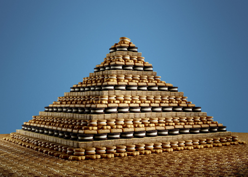 A photo of a large pyramid of packaged cookies