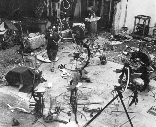 A photo of Jean Tinguely's art studio
