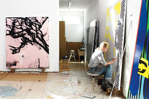 A photo of Charline von Heyl working in her studio
