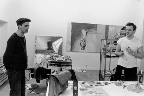 A photo of Albert Oehlen with Martin Kippenberger in his studio