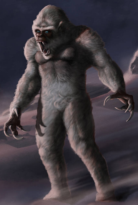 A digitally rendered image of an angry yeti