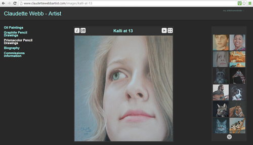 A screen capture of the coloured pencil drawing gallery on Claudette Webb's website