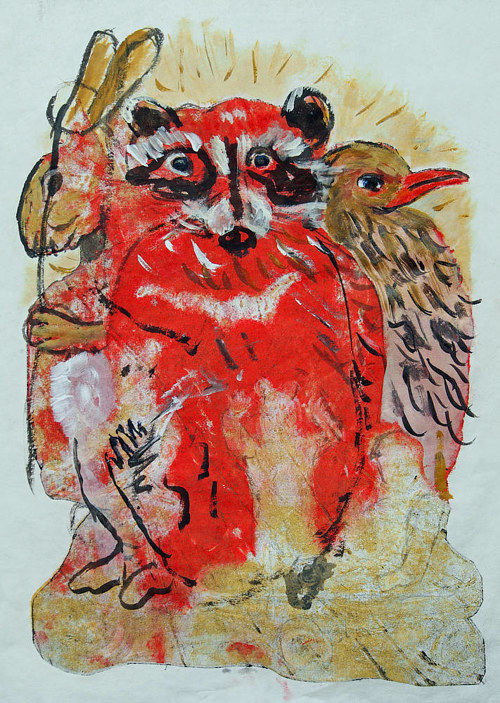 A reworked monotype print of a red racoon