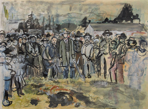 A mixed media artwork depicting workers breaking ground to start construction