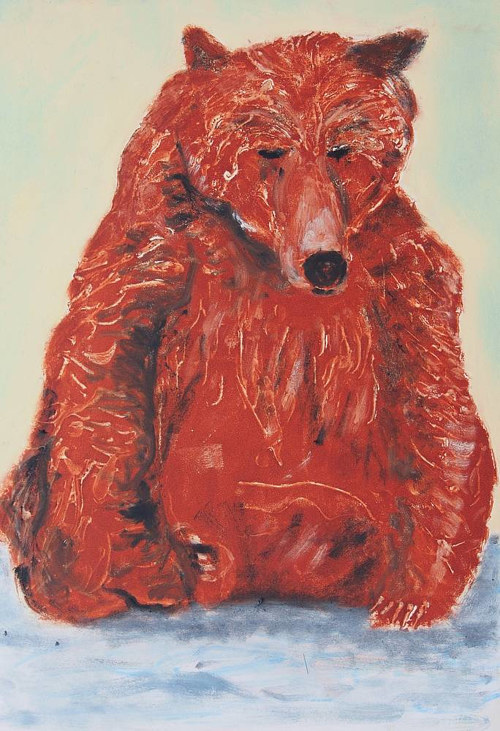 A mixed media artwork depicting a sitting Grizzly bear