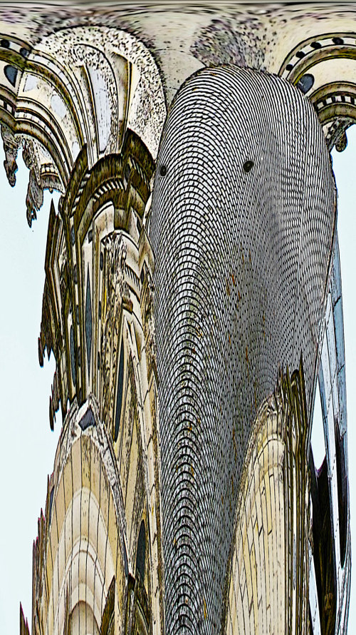 A stretched and distorted photo of a building exterior