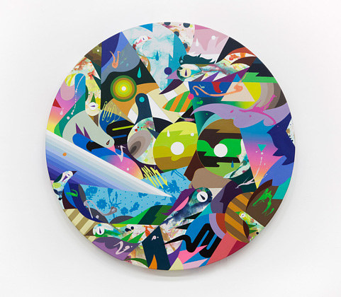 A round painting with bright colours and geometric shapes
