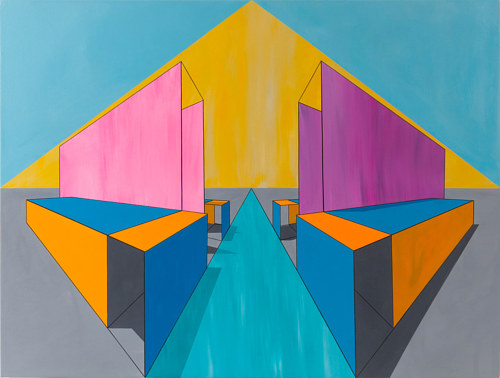 A geometric abstract painting with yellow, blue and pink tones