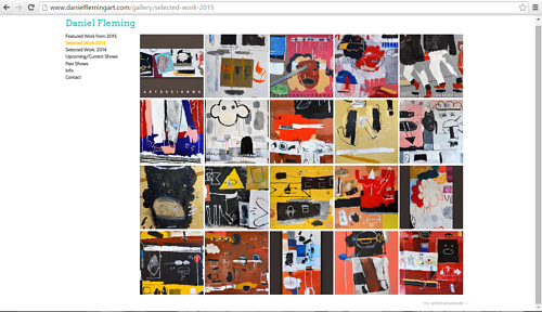 A screen capture of Daniel Fleming's website gallery of work from 2015