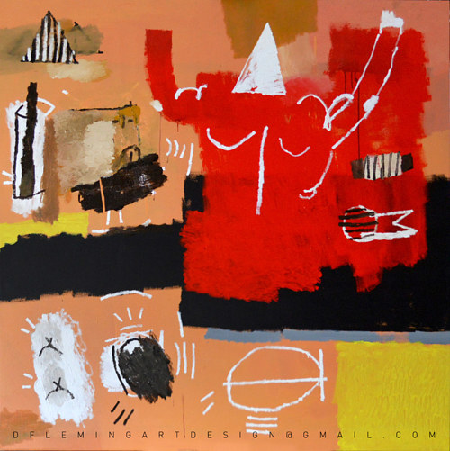 An abstracted painting depicting warm tones of red and orange