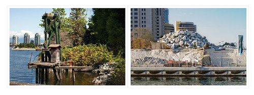 A diptych of photographs of waterfronts in Vancouver and Dubai