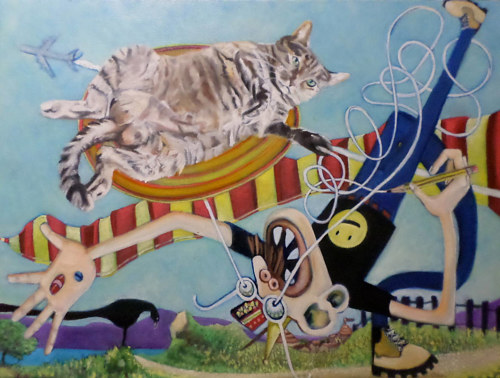 A colourful painting featuring a realistic cat and a cartoonish person