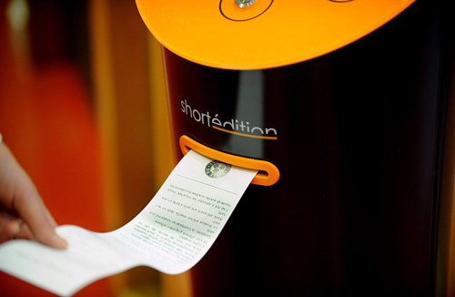 A photo of a short story vending machine from Short Edition in France