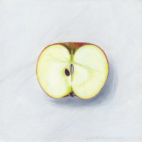 a painting of an apple sliced in half