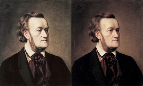A comparison of two different photos of a Casar Willich painting available from Wikimedia commons