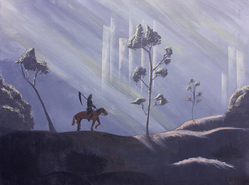 A painting of death riding a horse through a landscape
