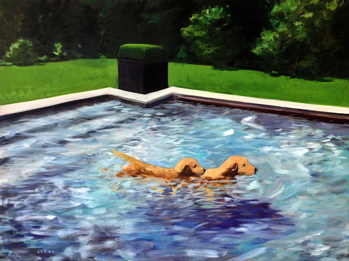 An oil painting of two dogs in a swimming pool