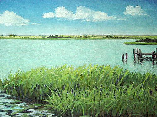 An oil painting of a still bay with reeds