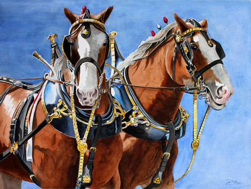 A painting of two Clydesdale horses