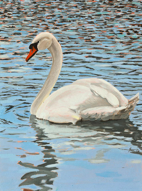 A painting of a swan on a pond