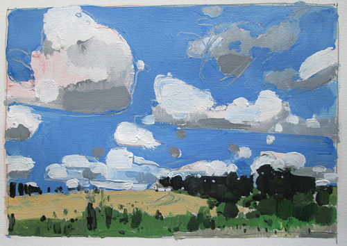 A painting of a cloudy summer sky