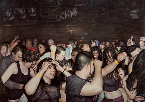 A painting by Dan Witz of a packed mosh pit
