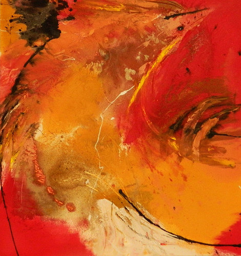 Abstract oil painting with red tones