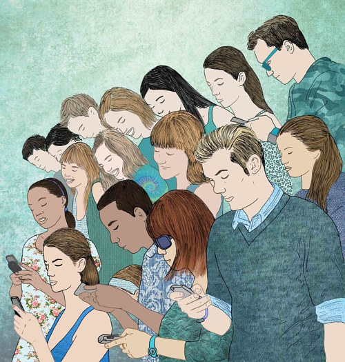 An illustration of a crowd of people looking at their phones