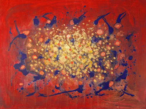 An abstract painting with a blue and white sunburst on a red background