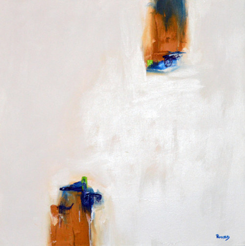 An abstract painting with a large area of negative space