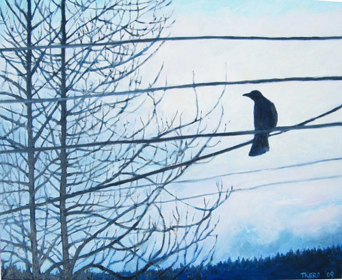 A painting of a crow sitting on a telephone cable