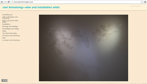 A screen capture of Joel Armstrong's art website