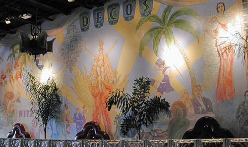 A photo of a large art-deco mural in a restaurant