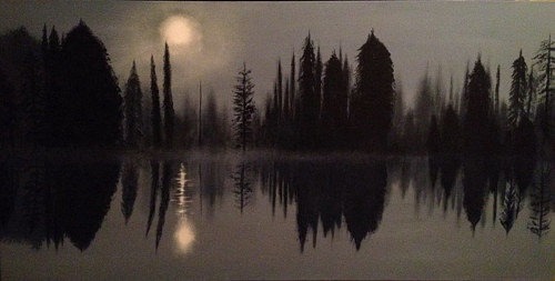 A painting of still water with reflected trees in moonlight