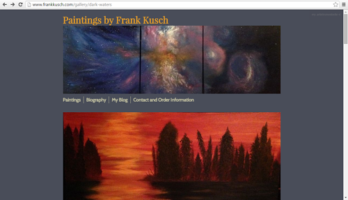 A screen capture of a painting gallery on Frank Kusch's website