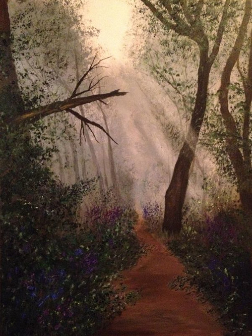 A painting of a heavily forested path with sunlight streaming in