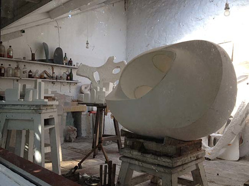 A photo of Dame Barbara Hepworth's studio