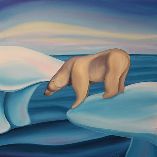 A painting of a polar bear looking down from a glacier