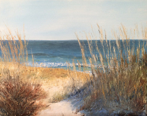 A painting of a beach through tall grass