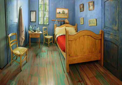 A photo of the Chicago Art Institute's replica of Van Gogh's bedroom