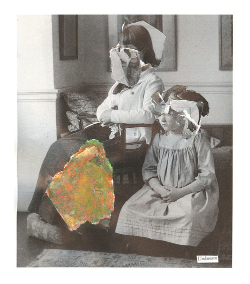 A collage based on a black and white photo of two young girls