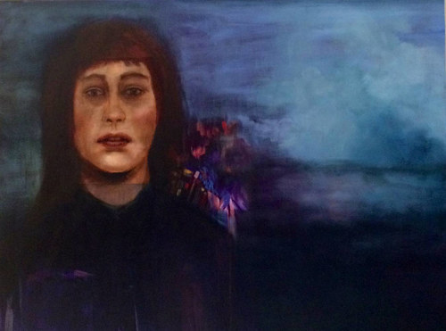 A painting of a woman standing in front of a deep blue background