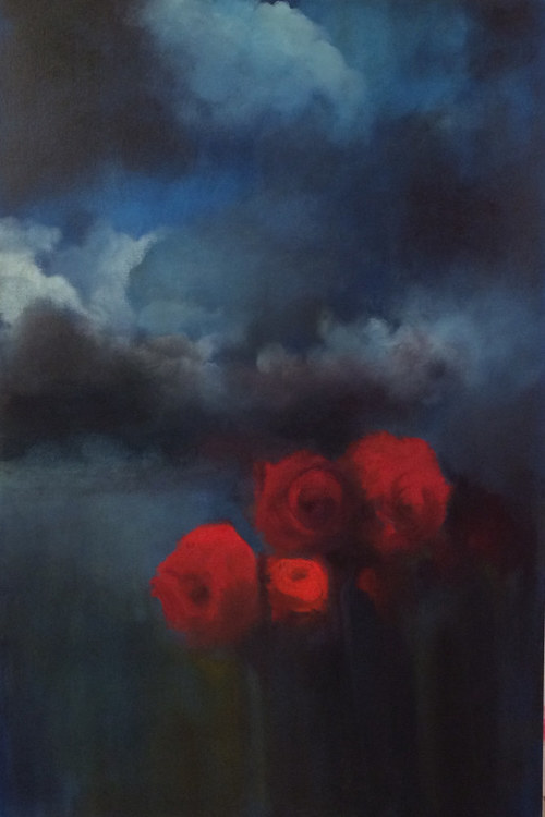 An oil painting of a bunch of red roses on a deep blue background