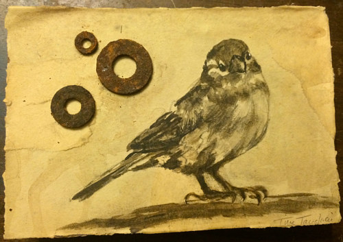 A painting of a bird with metal accents