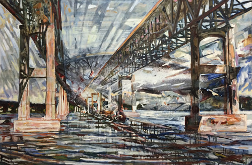 A painting of a steel bridge with the imprint of a fish