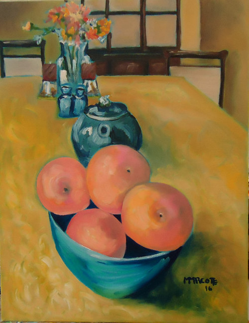 A painting of some grapefruits in a bowl