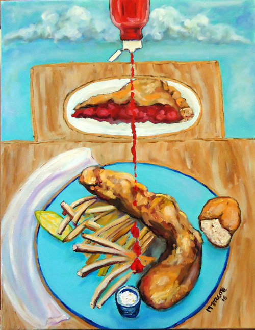 A painting of pie and fish and chips drizzled with ketchup