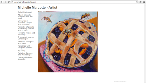 A screen capture of Michelle Marcotte's art website
