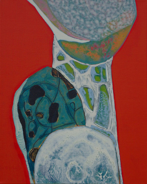 A painting of a bulbous, abstract form on a red background